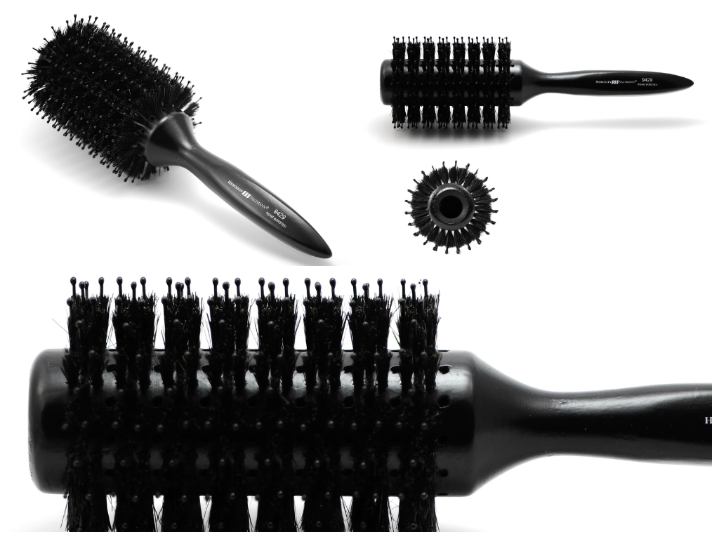 Black round hair brush with boar bristles
