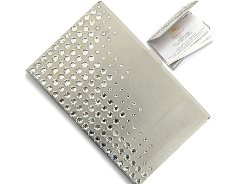 Business card holder with Swarovski crystals