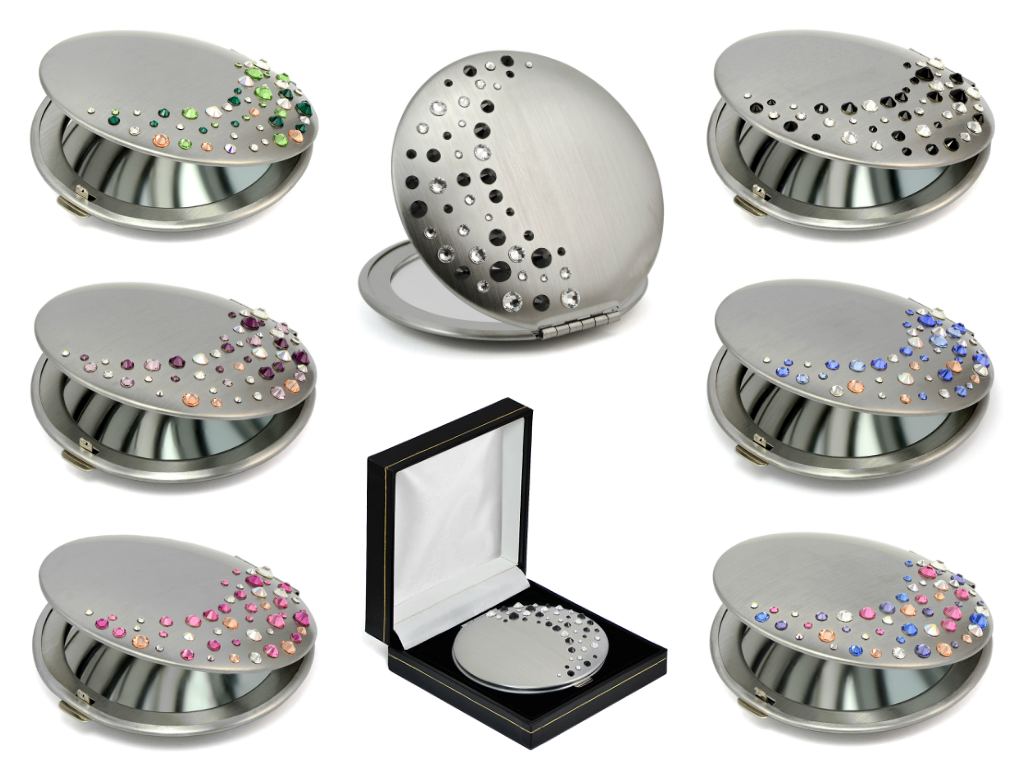 Compact metal mirrors with Swarovski crystals