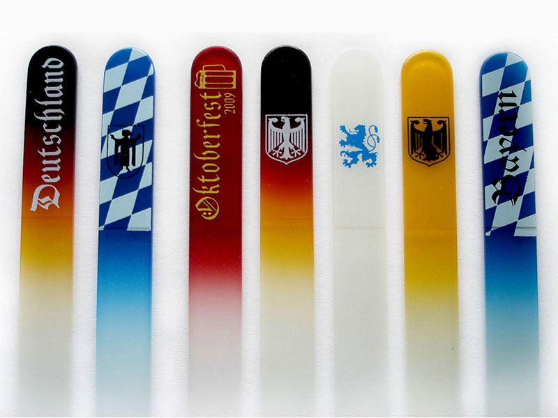 Color glass nail files with printed logotype