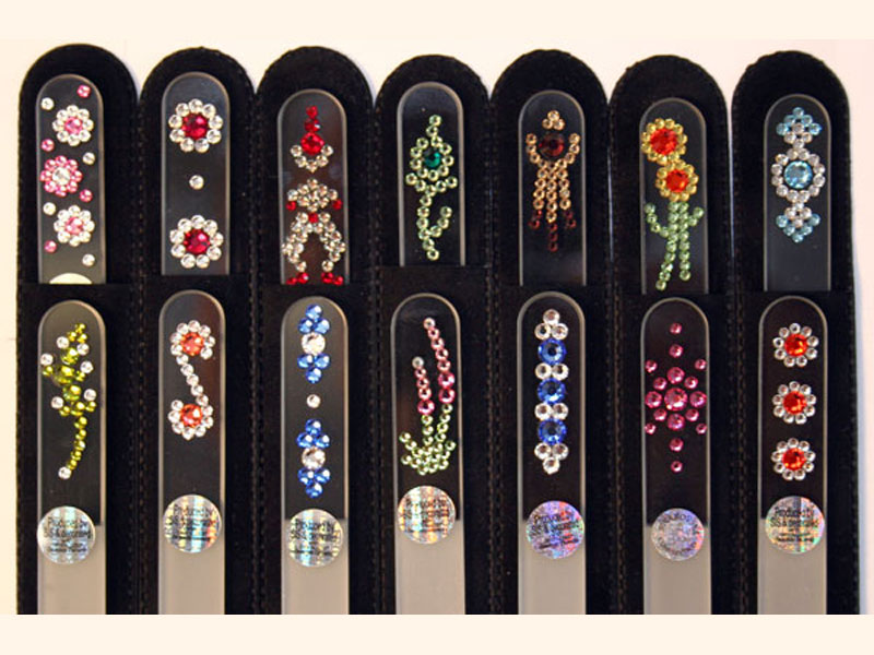 Crystal glass nail files with Swarovski crystals